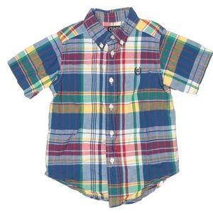 Chaps Short Sleeve Button Down Plaid Shirt 4T